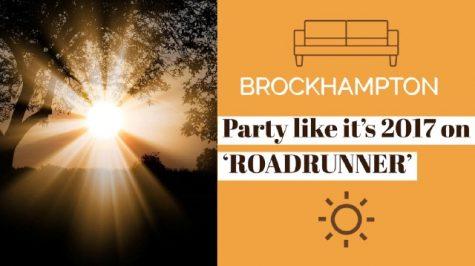 "Brockhampton look into the light on ""ROADRUNNER."" Art by Jessica Shippelhoute"
