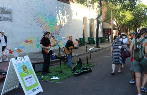 Lonewolf was one of several performers scattered throughout the Thursday Night Market on May 6.