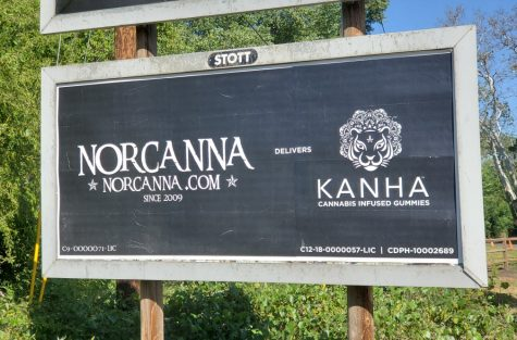 A billboard advertising cannabis delivery in Butte County, May 2021.