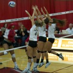 File photo by Lara Rodriguez Hannah Wilkins,Ashton Kershner and Natalie Nordahl go up for a block.