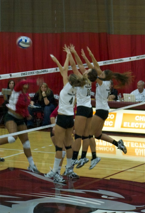 Volleyball team wins first home game