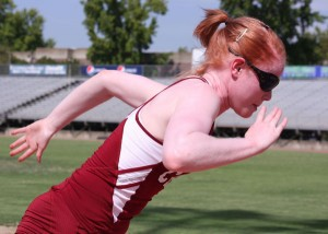 Shelby Keck Kym Crosby bolts down the track at University Stadium.