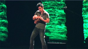 Jake Shimabukuro jams on stage at Laxson Auditorium on Friday.