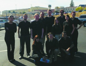 Photograph courtesy of Connor Spiegelman Criminal justice students pose outside the prison.