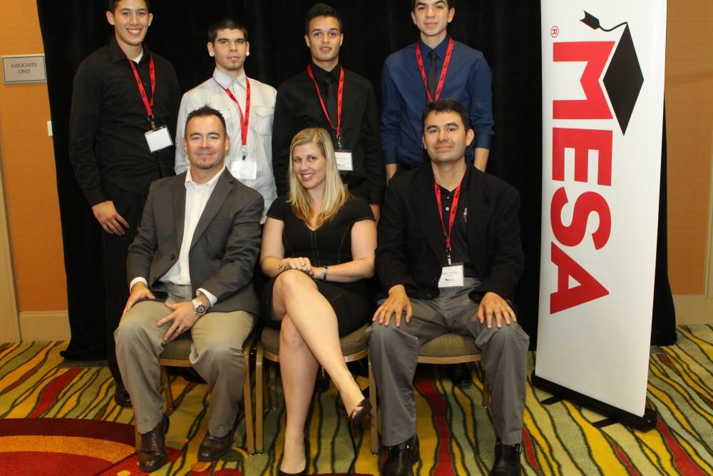 Photo courtesy of Paul Villegas Chico State students Mauricio Anaya, Gabriel Garcia, David Gonzalez, and Elyja Swick, seen in the back row were selected to attend a STEM-focused conference.