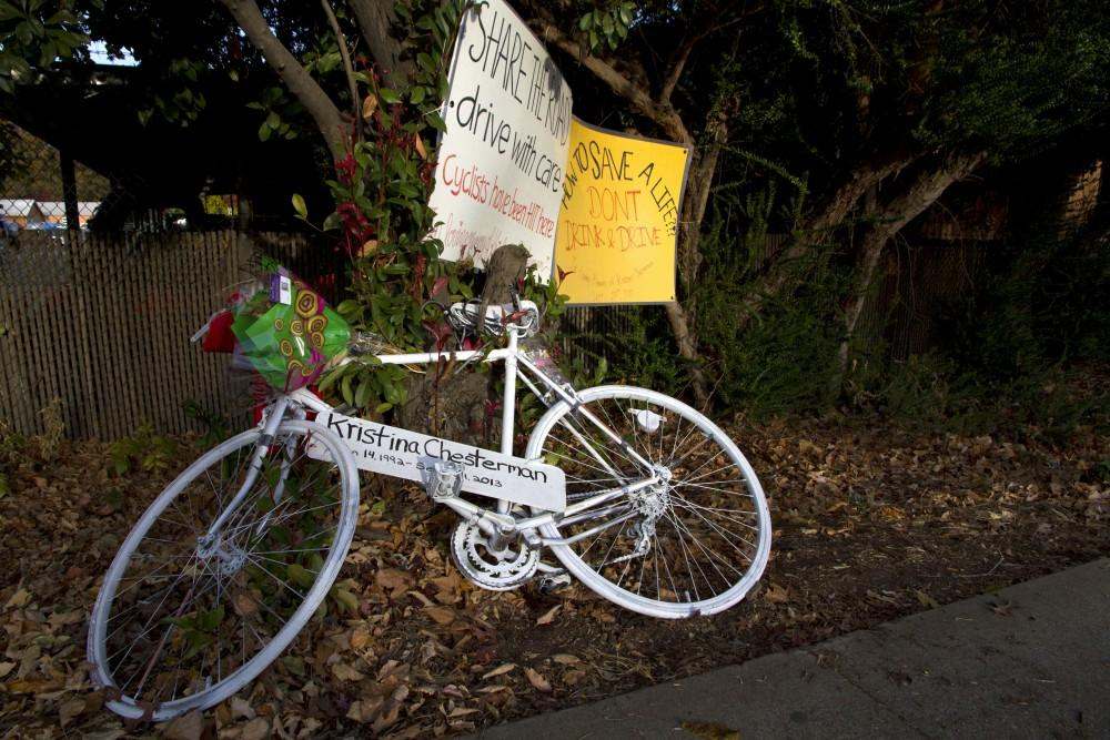 A painted white bike is propped where Kristina Chesterman was struck on the 300 block of Nord Avenue. Chesterman died at Enloe Medical Center after two days in critical condition. Photograph by Carter Caldwell. Photo credit: Carter Caldwell