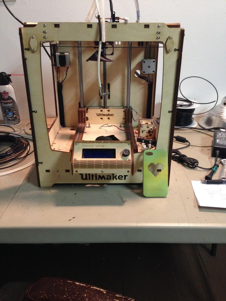 A 3-D Printer turns digital designs into three dimensional shapes, like an iPhone case.Photo credit: Subina Khan