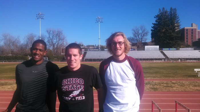 Hakeem Dyson, J Patrick Smith and John Brunk plan to lead the track team to success this season.Photo credit: Lee Masten