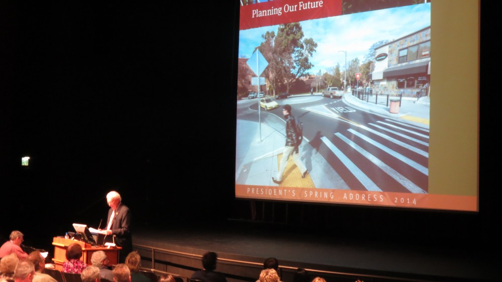 President Zingg explains the plans for the future of the campus and city of Chico. Photo credit: Thomas Martinez