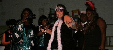 Julie Atlas shows off her 1920s fashion at the Rent Party costume contest Thursday night.Photo credit: Shannon Miller
