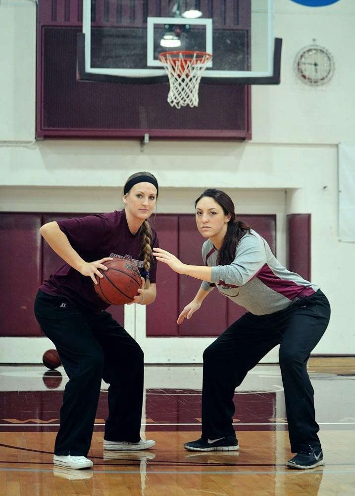 McKenzie Dalthrop and Analise Riezebos, both seniors, are post players and a dynamic duo for the women's basketbal team.Photo credit: Jamie Stryker
