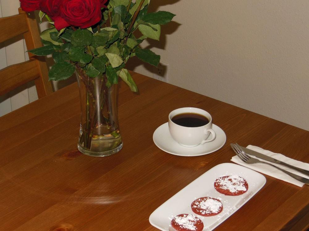 Red velvet pancakes set the mood for a romantic Valentine's Day breakfast.Photo credit: Christina Saschin