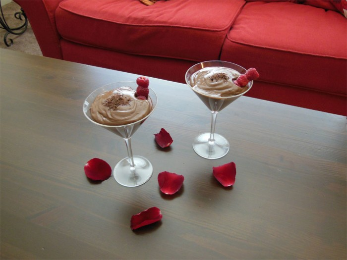 Chocolate pudding cups dressed up in martini glasses are sure to satisfy a sweetheart's sweet tooth.Photo credit: Christina Saschin