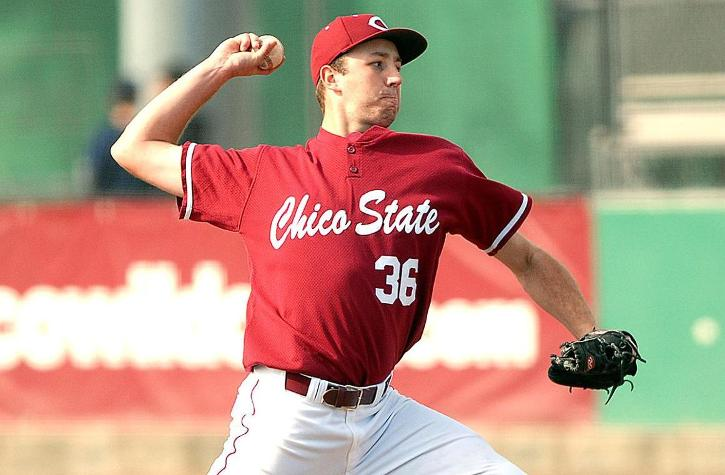 Nick Baker, senior pitcher, prepares to release a throw. Photo courtesy of Chico State Sports Information Department.