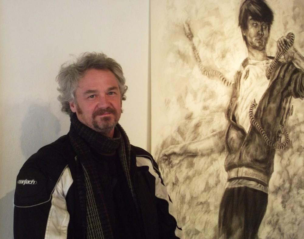 Jerome Pouwels, instructor of Advanced Life Drawing, the work of which is on display at the B-SO exhibit, LifeSizeMe+Air.Photo credit: Frances Mansour