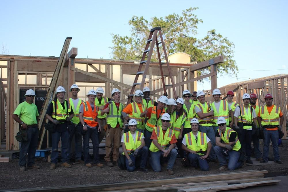 The building crew includes students and construction management teachers. Photo credit: Shayla Ramos