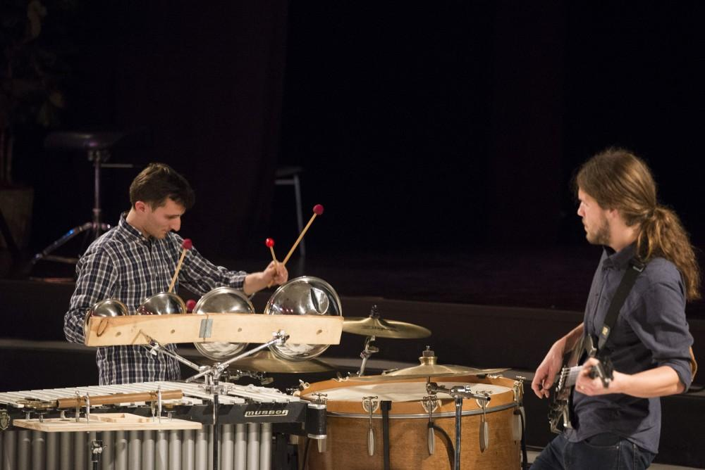 Andrew Meyerson and Travis Andrews of The Living Earth Show perform during the New Music Symposium Friday night at Rowland-Taylor Recital Hall.Photo credit: Matthew Vacca