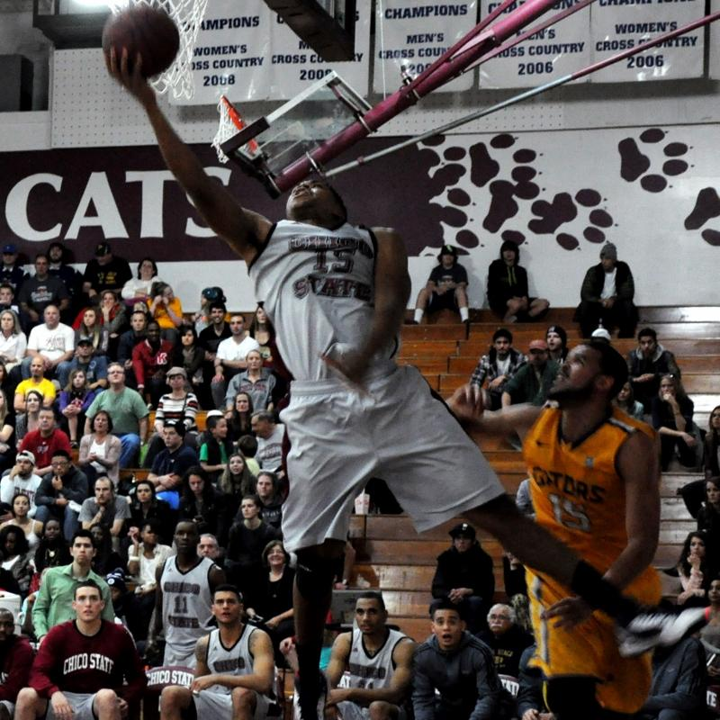 Amir Carraway goes for a fancy layup against San Francisco State earlier this season. Photo credit: Annie Paige