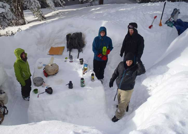 Students spend time in a kitchen built to make snow living more comfortable during a Outdoor Education trip to Tahoe in 2011. Enrollment in the program was suspended May 2012 and students have had to go outside of the university to obtain this type of experience. Photo courtesy of Inside Chico State, CSU, Chico's faculty and staff newsletter.