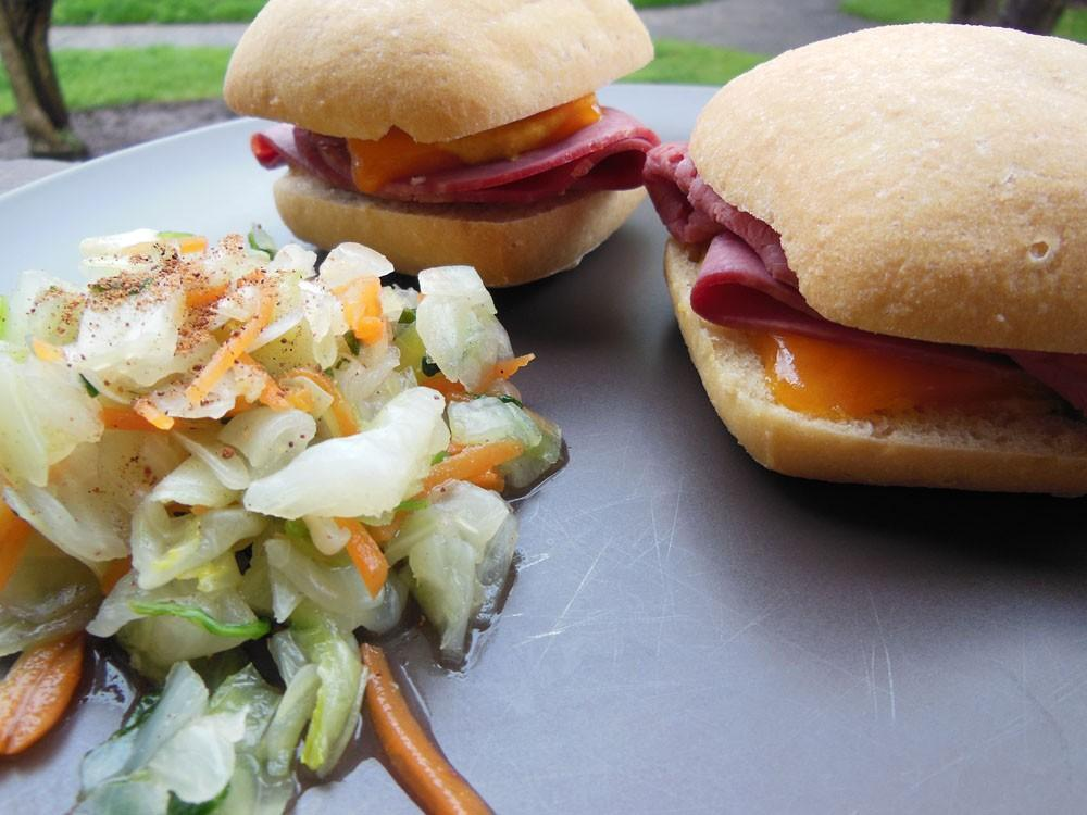 Celebrate St. Patrick's Day with quick corned beef sliders and a cabbage salad. Photo credit: Christina Saschin