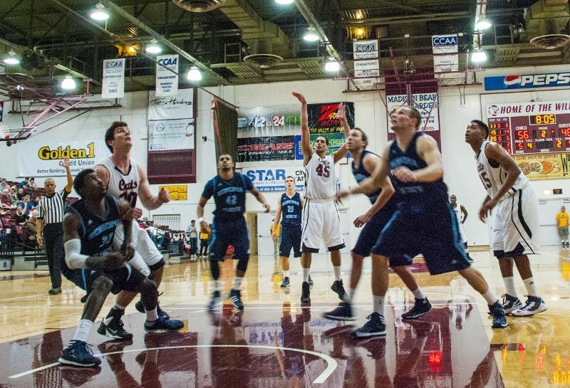 Jordan Semple makes a free throw against Sonoma State earlier this season. Photo credit: Alex Boesch