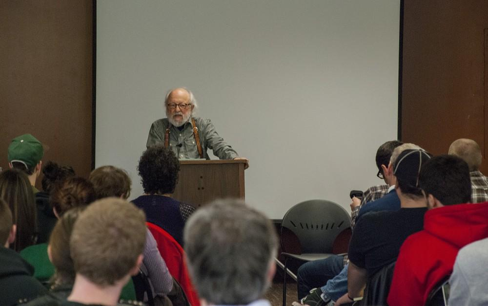 Ed Bronson, a former political science professor, speaks about his experience in the criminal justice field at Selvester's Cafe-by-the-Creek on Friday.Photo credit: Alex Boesch