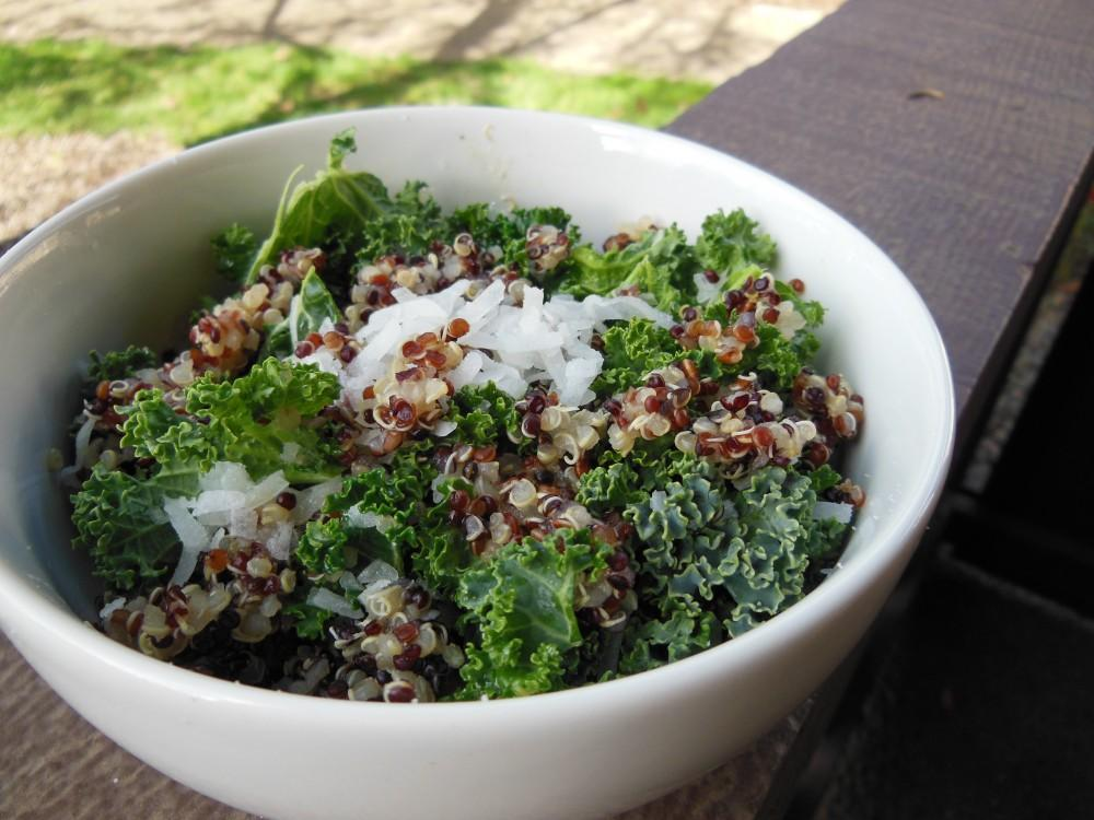 Try a fresh quinoa and kale salad for a serving of protein. Photo credit: Christina Saschin