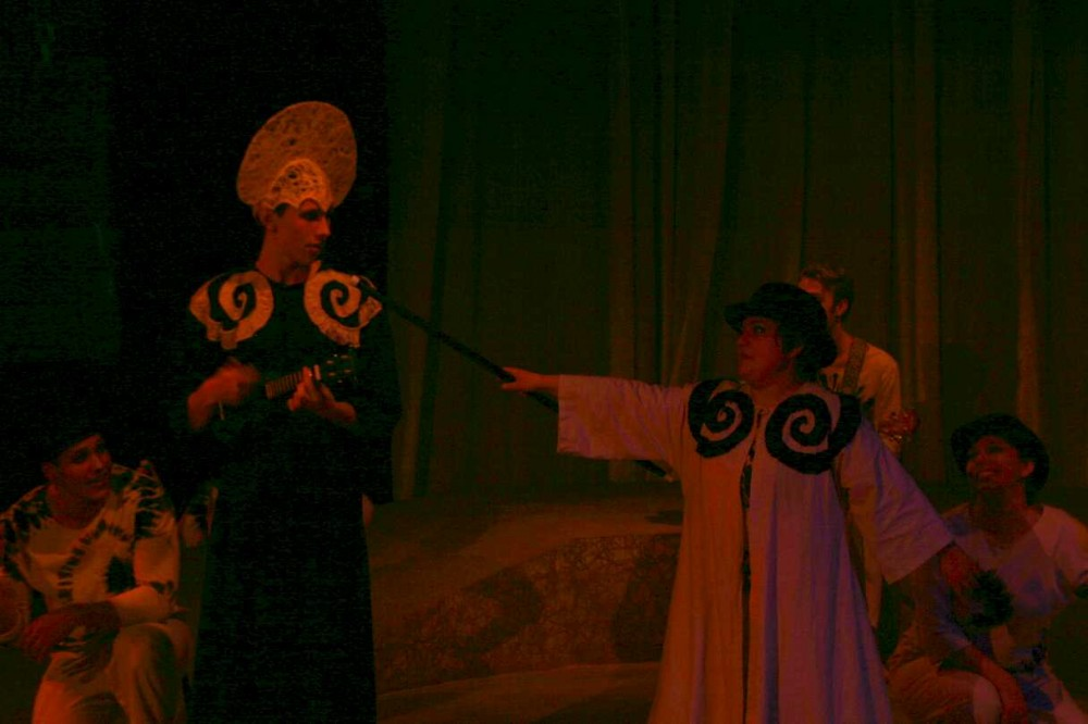 Spirit and Science confronting each other through song in Creation Stories. Photo credit: Shannon Miller