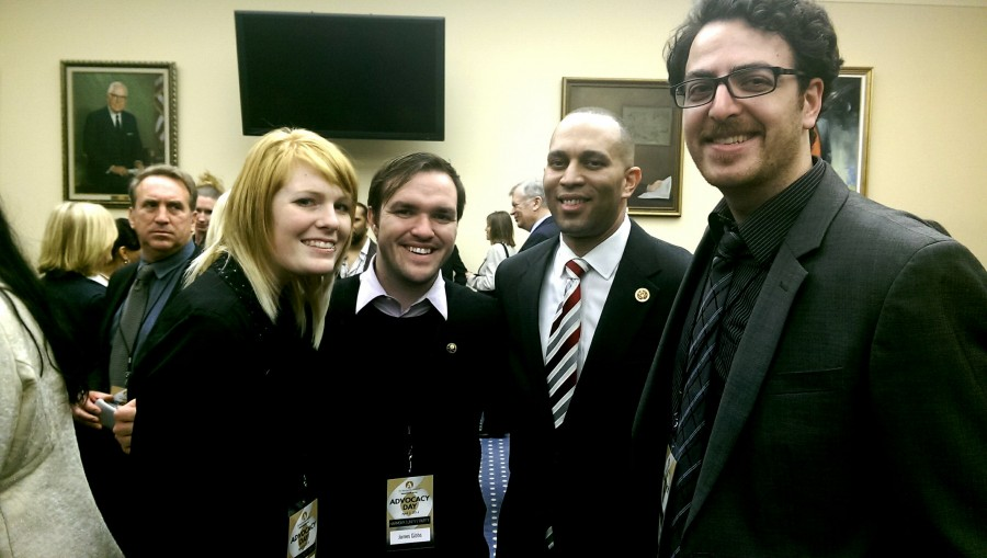 Corrie Clark, James Gibbs and Noah Ben-Eishai lobbied for artists rights in D.C. at the beginning of April. They Rep. Hakeem Jeffries of New York. Photo credit: Anita Gisborne.