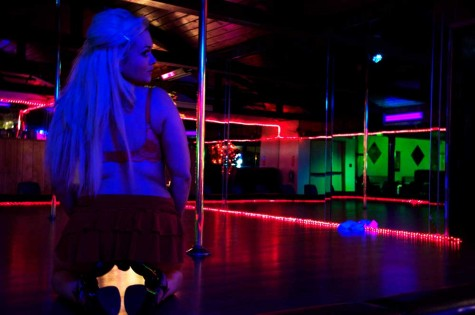 Anya, a Butte College student, shows off her dance moves at Centerfold strip club Sunday night. Photo credit: Annie Paige