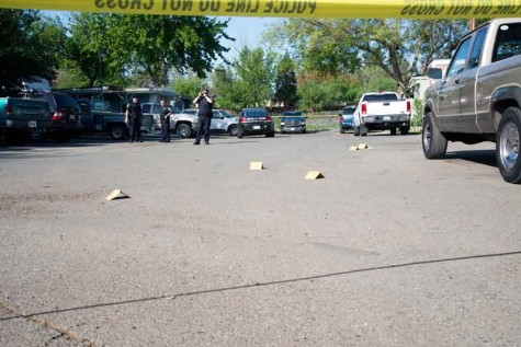 Chico Police examine bullet shell casings at Chico Trailer Haven at 1412 Nord Ave. Photo credit: Matthew Vacca