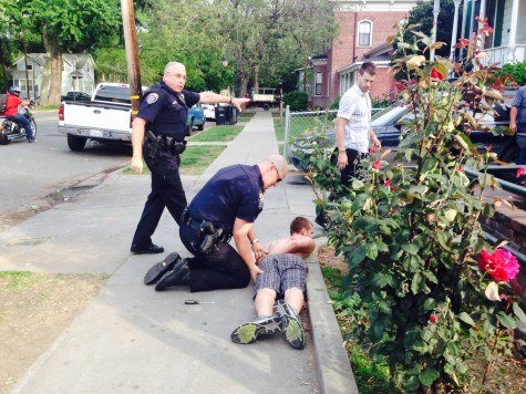 Bare-chested man detained on Ivy Street