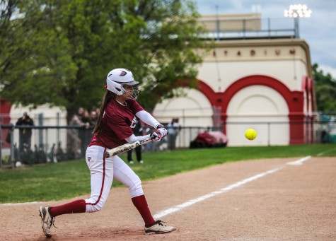 Amanda Cordeiro, sophomore left fielder, prepares for her hit. Photo credit: Emily Teague
