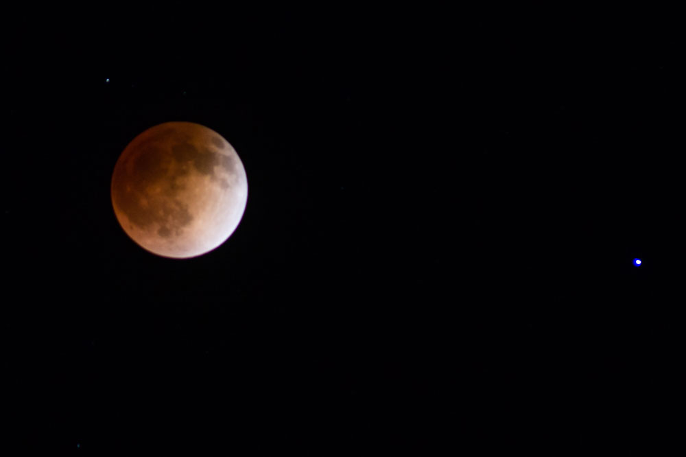 "A total lunar eclipse turns the moon coppery red Tuesday, April 15 over Chico. It is commonly refereed to as a ""blood moon."" Photo credit: Ernesto Rivera."