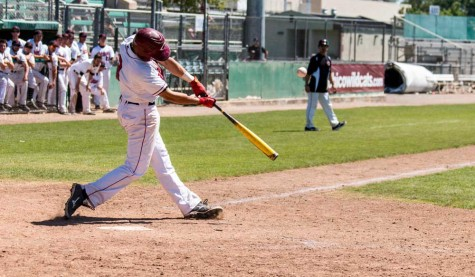 Senior third baseman Ruben Padilla singles to left field in the third inning against Cal State Dominguez Hills earlier this season. Photo credit: Grant Mahan