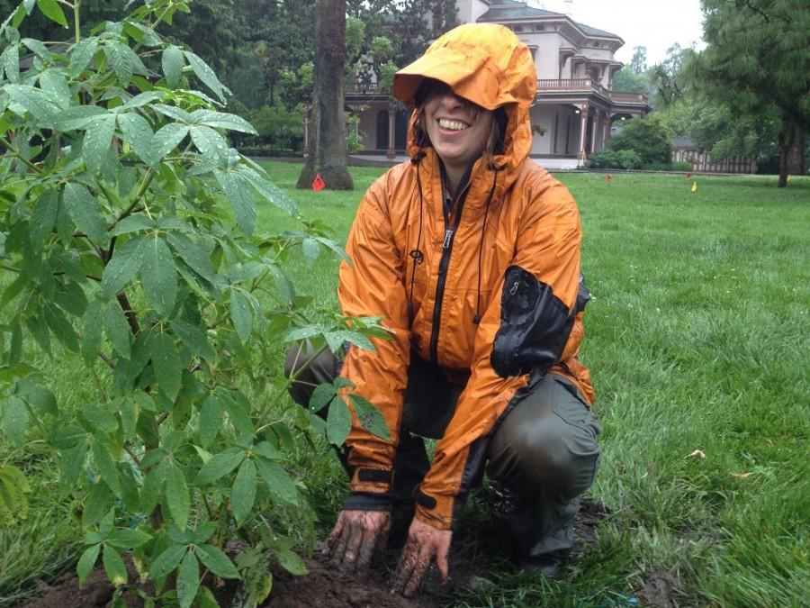 Erica Martin, park interpretive specialist, helped students plant trees at Bidwell Mansion. Photo credit: Amanda Hovik
