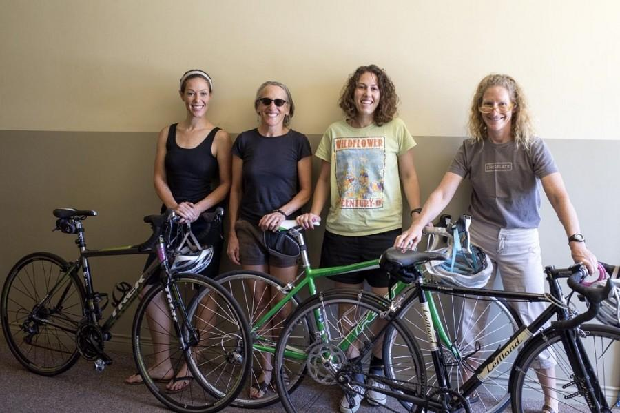Katherine Ketterer, Gabby Walters, Stacy Canada and Janine Rood are members of Chico Velo Cycling Club, a sponsor of BikeChico!, one of several Bike Month events in May. Photo credit: Matthew Vacca