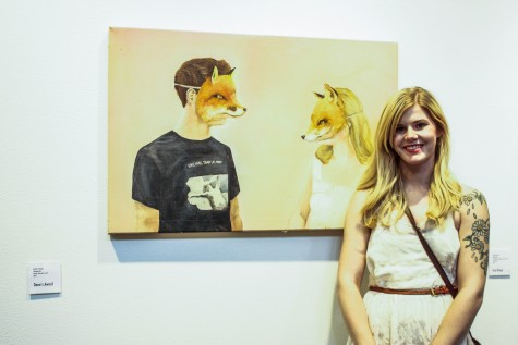 Ashley Penning, winner of the Dean's Award, at the 59th annual juried exhibition. Photo credit: Chelsea Jeffers