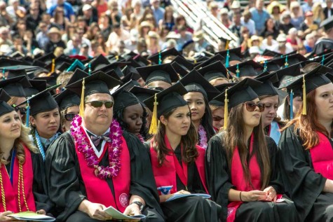 Chico State graduates patiently sitting through the ceremony and eagerly waiting to finally hold their diploma in their hands. Photo credit: Chelsea Jeffers