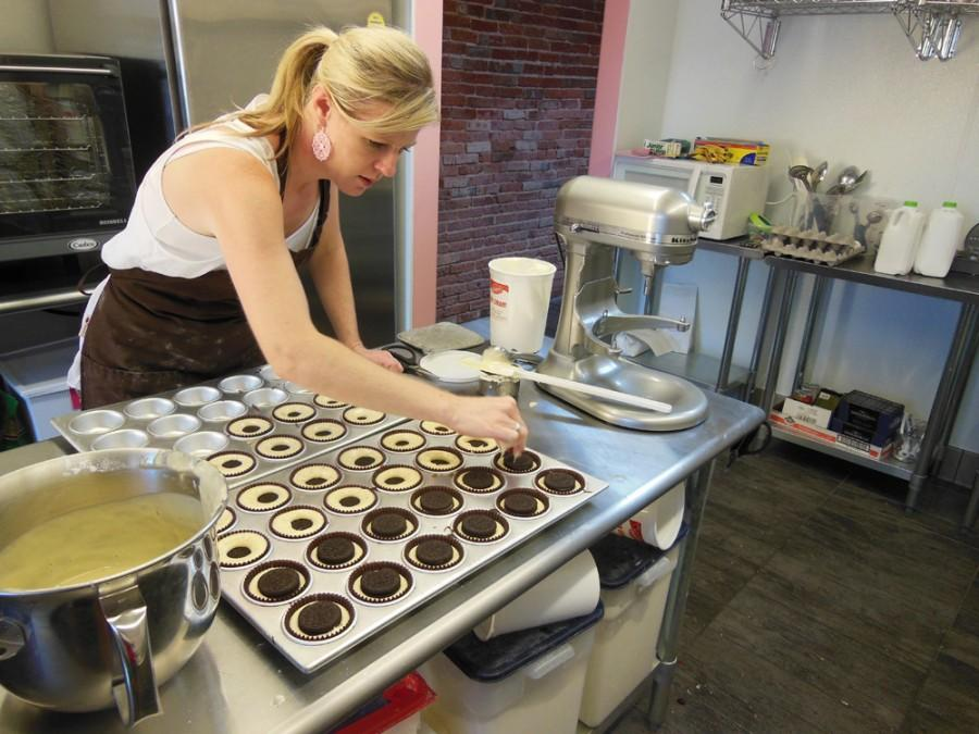 Denine Shern bakes cupcakes every morning before her shop opens at 10:30 a.m. Photo credit: Christina Saschin