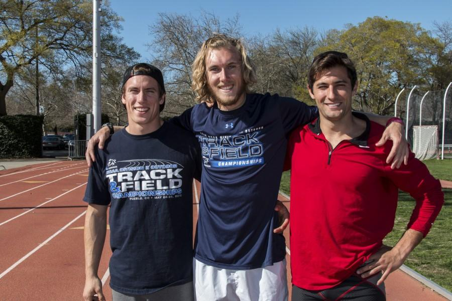 Former Chico State decathlete J Patrick Smith, left, stands with training partners John Brunk, middle, and Theodore Elsenbaumer, right. Photo credit: Grant Mahan