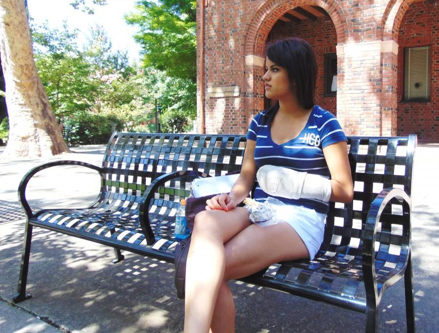 Alexia Carrillo, a third-year speech pathology major, sits in front of Kendall Hall eating her lunch and discusses her transition to Chico. Photo credit: Samantha Mckibben