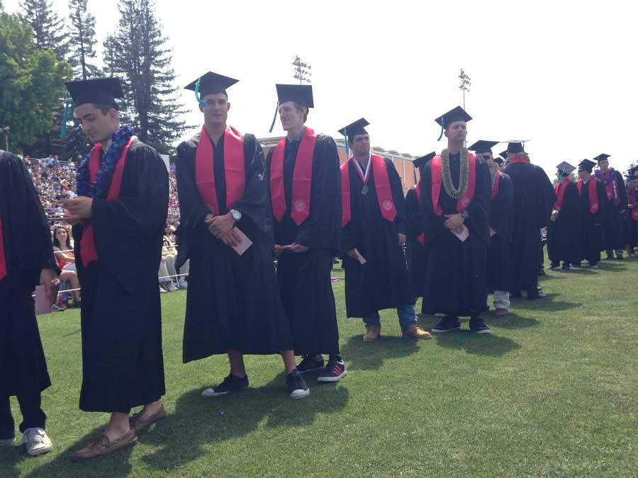 Chico State graduate class of 2014 wait in line to walk the stage at the University Stadium in May. Photo credit: Christine Lee