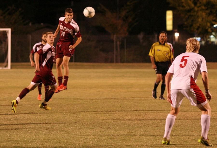 mens soccer player Nick Radosavljevic goes for a header in a game earlier in the year. Chico State picked up its first road win of the year on Thursday, 1-0 over BYU-Hawaii. Photo credit: John Domogma