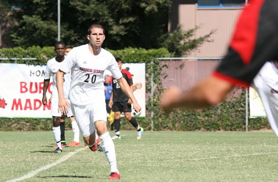 Senior men's soccer player Michael Janjigian sets up on defense earlier in the season. Chico State fell to Dominguez Hills 1-0 Friday. Photo credit: John Domogma