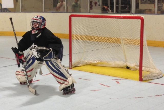Chico State inline hockey goalie Nick Vargas prepares for a shot in practice. The team will open its season with a tournament in October. Photo credit: Kevin Lucena