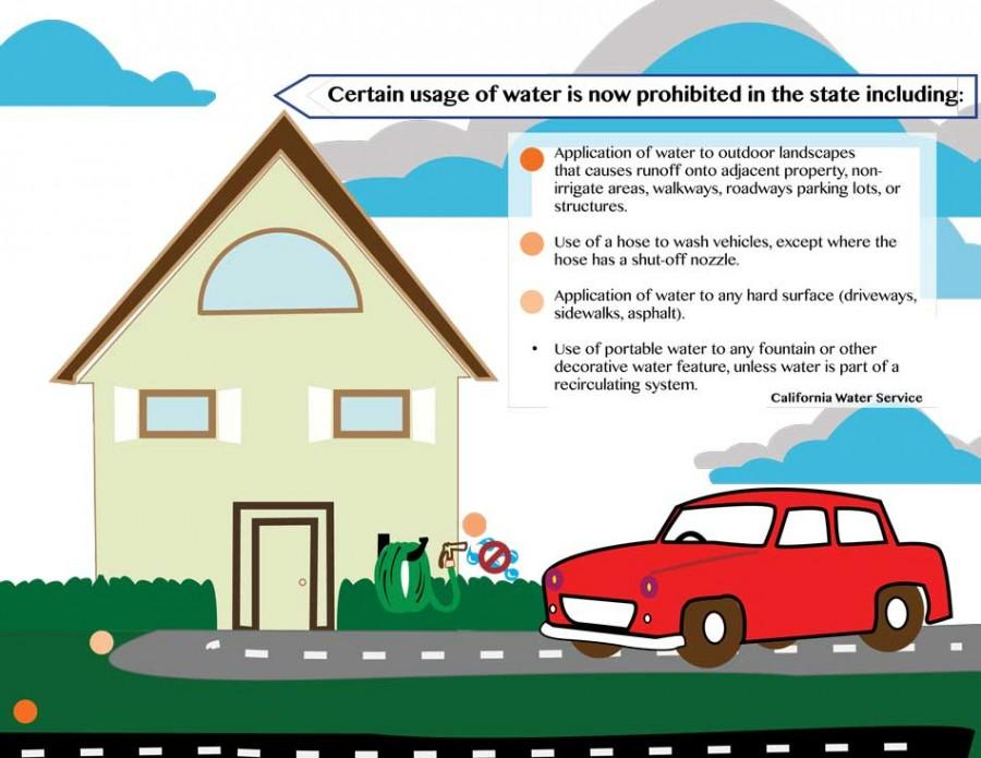 Chico is working with the California Water Service Co. to cut back on runoff water from residential lawns and cement areas. Infograph by Monica Fitch