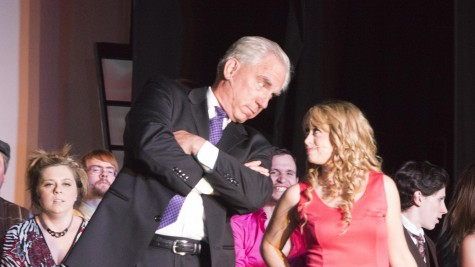 Professor Callahan (Robert Hart) and Elle Woods (Rebecca Allen) on stage at Chico Theater Company during the musical