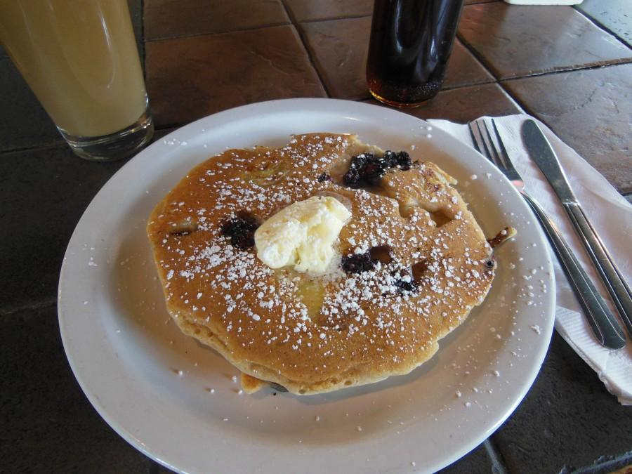 Berry and Banana Pancakes with a Café Latte and syrup at Sin of Cortez. Photo credit: Christina Saschin