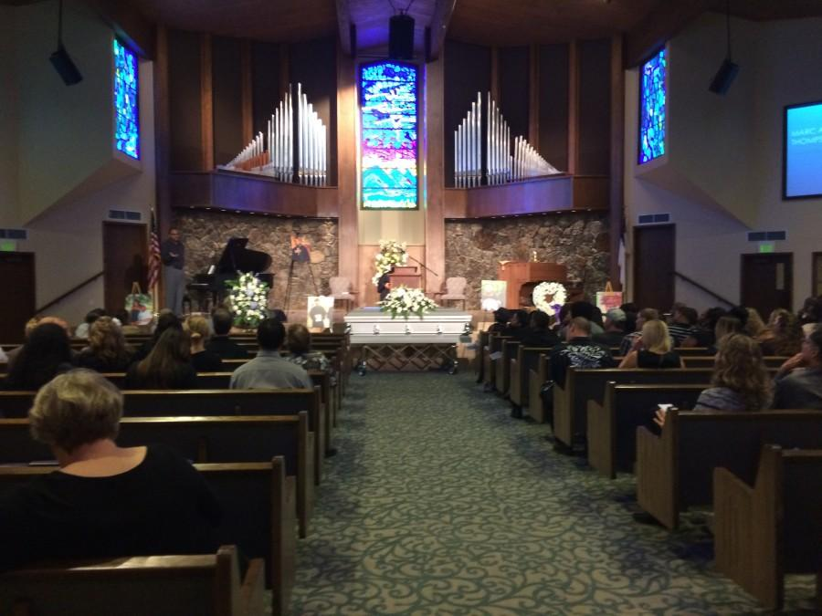 Family and friends of Marc Thompson gathered in the sanctuary before the sermon. Photo credit: Jovanna Garcia